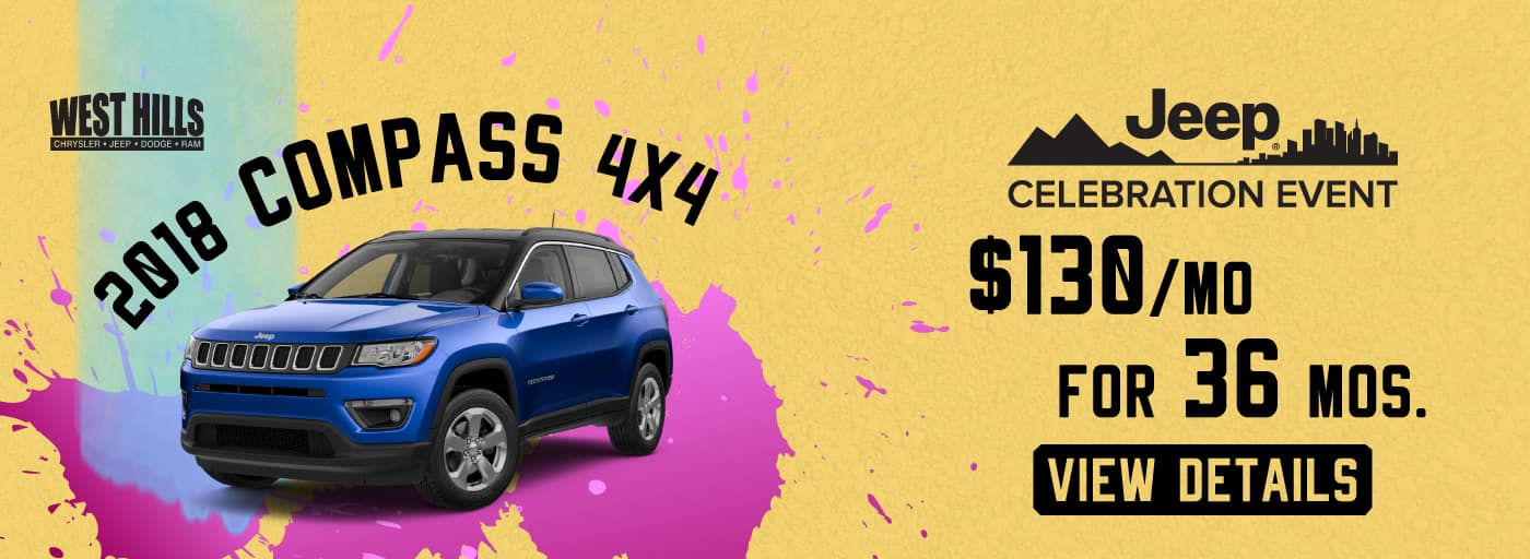 2018 Jeep Compass 4x4  $130/mo. For 36 mos.*