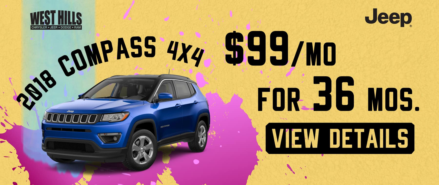 2018 Jeep Compass 4x4  $99/mo. For 36 mos.*