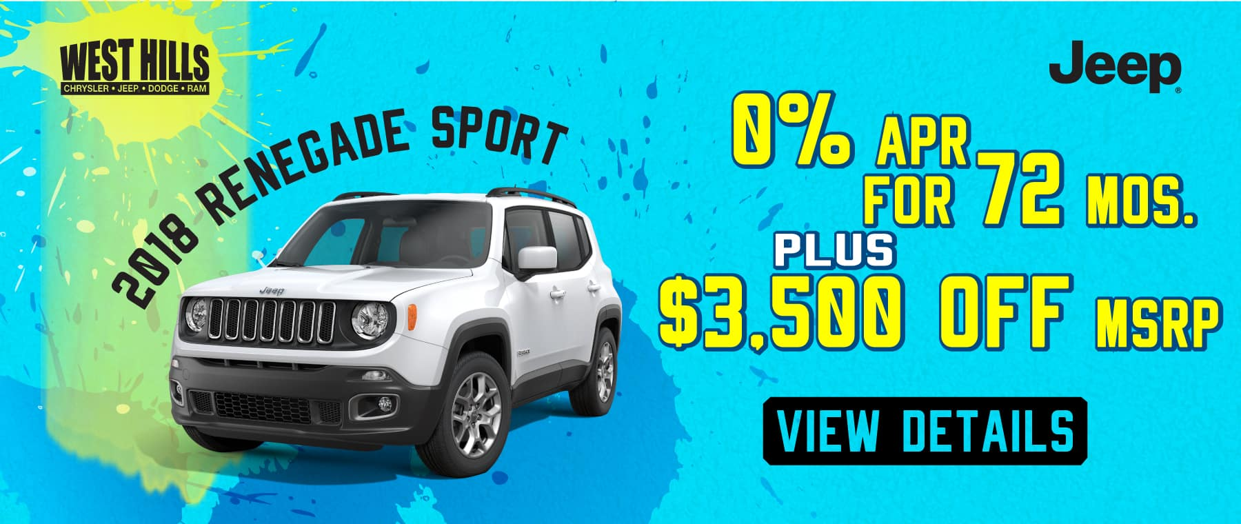 2018 Jeep Renegade Sport  0% APR for 72 mos + $3,500 off MSRP.*