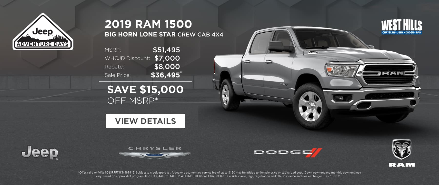 2019 Ram 1500 Big Horn Lone Star Crew Cab 4X4  (FEATURED VEHICLE)