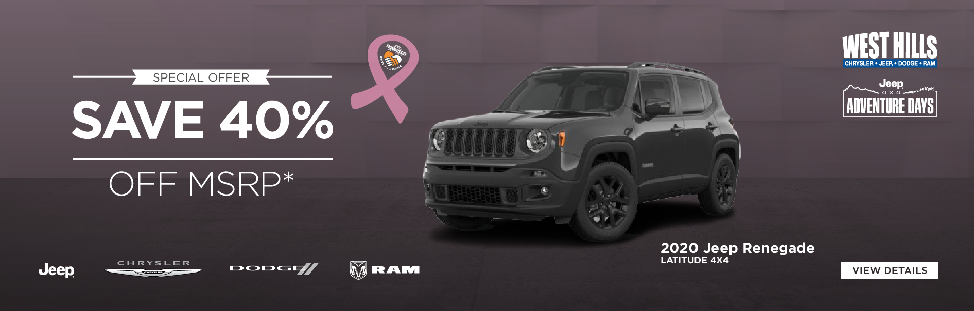 2019 Jeep Renegade Latitude 4x4 (featured vehicle)  SAVE 40% OFF MSRP*    * Offer valid on 2019 Jeep Renegade Latitude. VIN: ZACNJBBB1KPK24630. MSRP: $28,805. WHCJDR Discount: $4,750. Rebate: $6,750. Sale Price: $17,305. Based on approval of program ID 70CK1, WECKE, 44CKB3, 43CKP1 43CKP3, 43CKP4, WECKA, 43CL1B1. Subject to credit approval. Down payment and monthly payment may vary. Excludes taxes, tags, registration and title, insurance and dealer charges. A negotiable dealer documentary service fee of up to $150 may be added to the sale price or capitalized cost. Exp. 10/31/2019.