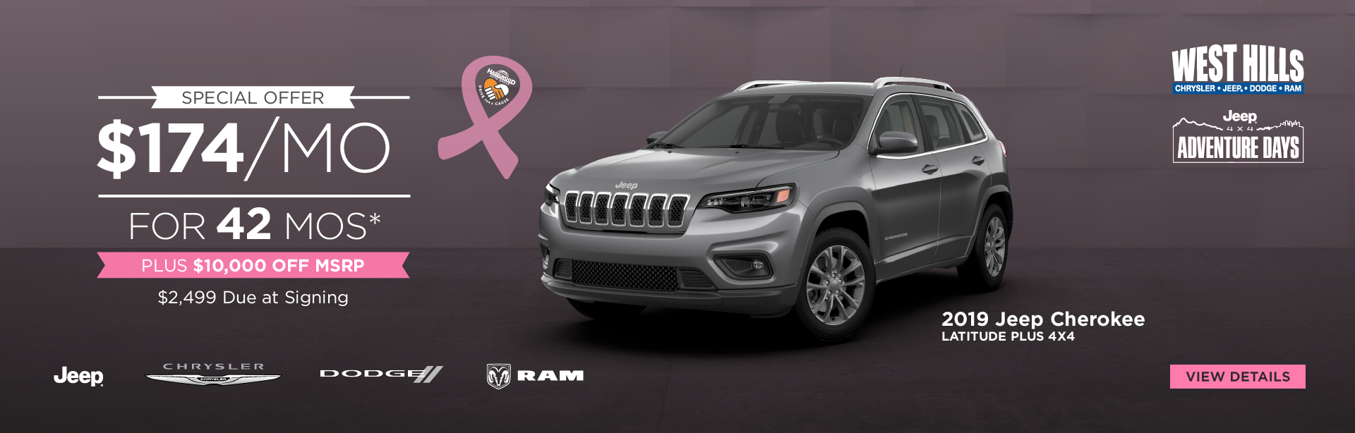 2019 Jeep Cherokee Latitude Plus 4x4 $174/mo. for 42 mos.*  PLUS $10,000 OFF of MSRP $2,499 Due at Signing    *Offer valid on 2019 Jeep Cherokee Latitude Plus 4x4. $174/mo. for 42 mos. Plus, $10,000 OFF of MSRP. $2,499 Due at Signing. Based on MSRP $30,140. Based on approval of program ID 70LKJC, 70LK3C, 70LK1, 44CKB3, WECKA, WECKZ, 43CL1B3. 42 months at $13.89 per $1,000 financed. VIN: 1C4PJMLB4KD441528. Subject to credit approval. Not all lessees will qualify for lowest payment through participating lender. Option to purchase at lease end. Excludes state and local taxes, tags, registration and title, insurance and dealer charges.  A negotiable dealer documentary service fee of up to $150 may be added to the sale price or capitalized cost. Lessee pays for excess mileage, wear and tear. Offer expires: 10/31/2019.