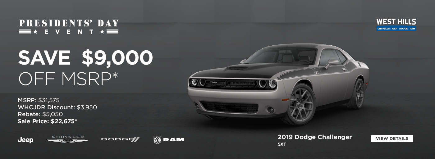 2019 RAM 1500 Big Horn  (featured vehicle)  MSRP: $50,085 WHCJDR Discount: $9,500 Rebate: $5,500 Sale Price: $35,085* SAVE $15,00 OFF MSRP*  * Offer valid on 2019 RAM 1500 Big Horn. VIN: 1C6SRFFT3KN889862. MSRP: $50,085.WHCJDR Discount: $9,500. Rebate: $5,500. Sale Price: $35,085. Plus 2,387 in accessories. Based on approval of program ID 70CK1, 44CKB3, 45CKM1, 45CKM2, 45CKM3, 45CKM4, 45CKM5, 45CKM6, 45CKM7, 45CKM8, 28HKA, WECKA1, WECKA. Subject to credit approval. Down payment and monthly payment may vary. Excludes taxes, tags, registration and title, insurance and dealer charges. A negotiable dealer documentary service fee of up to $150 may be added to the sale price or capitalized cost. Exp. 12/2/2019.