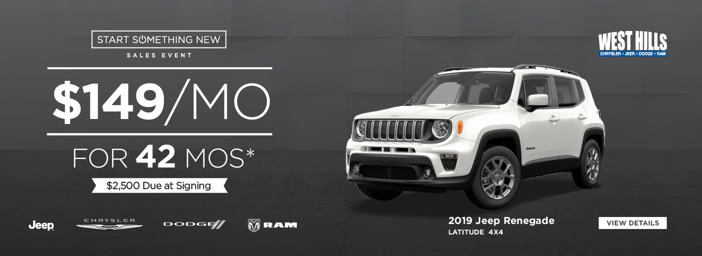 2019 Jeep Renegade Latitude 4x4 $149/mo. for 42 mos.*  $2,500 Due at Signing    *Offer valid on 2019 Jeep Renegade Latitude 4x4. VIN: ZACNJBBB7KPK55414. $149/mo. for 42 mos. $2,500 Due at Signing. Based on MSRP $29,110. Based on approval of program ID 70LKJC, 70LK3C, 70LK1, 44CKB3, WECKA, WECK1M. 42 months at $13.89 per $1,000 financed. Subject to credit approval. Not all lessees will qualify for lowest payment through participating lender. Option to purchase at lease end. Excludes state and local taxes, tags, registration and title, insurance and dealer charges.  A negotiable dealer documentary service fee of up to $150 may be added to the sale price or capitalized cost. Lessee pays for excess mileage, wear and tear. Offer expires: 1/31/2020.
