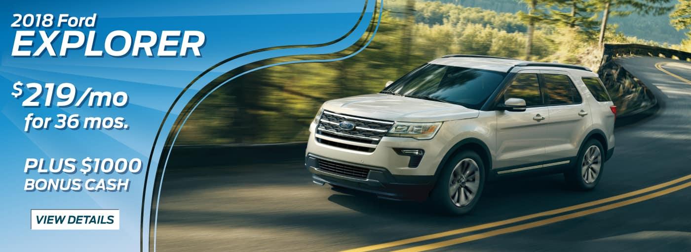 2018 Ford Explorer  0% APR for 72 mos* PLUS $1,000 Bonus Cash**