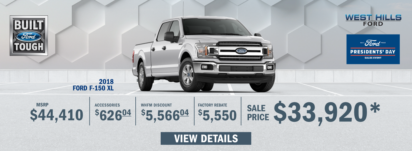 2018 Ford F-150 XL  MSRP: $44,410 WHFM Discount: $5,566.04 Factory Rebate: $5,550 Sale Price: $33,920   *Offer valid on 2018 Ford F-150 XL. VIN: 1FTEW1EP5JKF82778. Subject to credit approval. MSRP is $44,410. Plus $626.04 in Accessories. WHFM Discount: $5,566.04. Factory Rebate: $5,550. Sale Price: $33,920, not all will qualify. Down payment and monthly payment may vary. Excludes state and local taxes, tags, registration, title, insurance and dealer charges. See dealer or go to ford.com for qualifications and complete details. A negotiable dealer documentary service fee of up to $150 may be added to the sale price or capitalized cost. Offer expires 2/18/19.