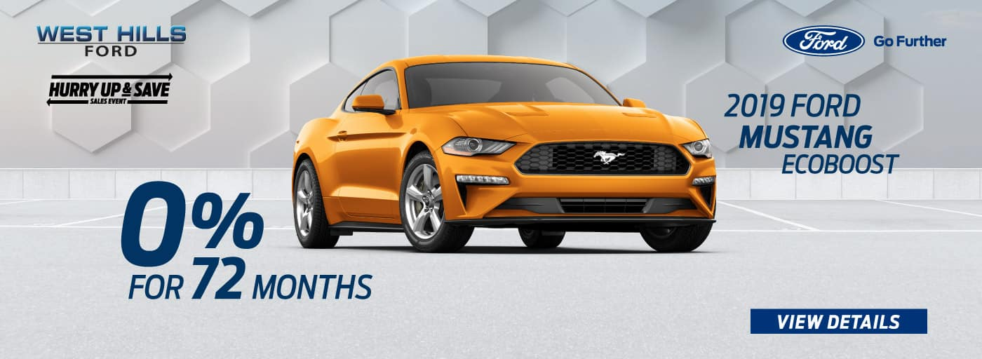 2019 Ford Mustang EcoBoost 0% for 72 mos.*   * Offer valid on 2019 Ford Mustang EcoBoost. 0% APR for 72 months. MSRP: $32,080. Valid on VIN: 1FA6P8TH6K5197872.Subject to credit approval. For Qualified 720+ Rated Credit through Ford Credit. $0 Security Deposit Required. APR $13.89/$1000 borrowed. Not all buyers will qualify. Down payment and monthly payment may vary. Excludes state and local taxes, tags, registration, title, insurance and dealer charges. See dealer for qualifications and complete details. A negotiable dealer documentary service fee of up to $150 may be added to the sale price or capitalized cost. Offer expires 9/3/19.