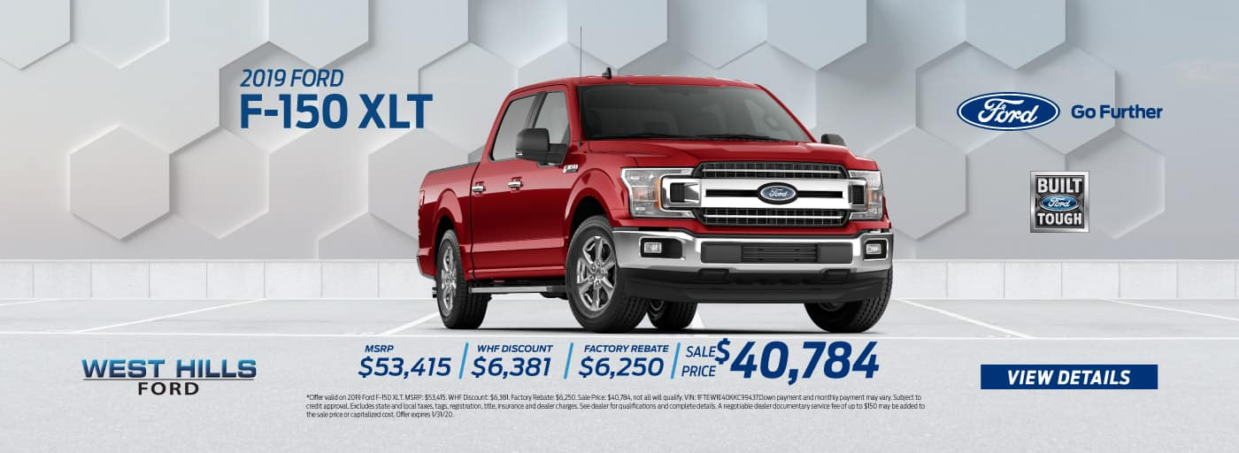 2019 Ford F-150 XLT (featured vehicle) MSRP: $53,415 WHF Discount: $6,381 Factory Rebate: $6,250 Sale Price: $40,784   *Offer valid on 2019 Ford F-150 XLT. MSRP: $53,415. WHF Discount: $6,381. Factory Rebate: $6,250. Sale Price: $40,784, not all will qualify. VIN: 1FTEW1E40KKC99437.Down payment and monthly payment may vary. Subject to credit approval. Excludes state and local taxes, tags, registration, title, insurance and dealer charges. See dealer for qualifications and complete details. A negotiable dealer documentary service fee of up to $150 may be added to the sale price or capitalized cost. Offer expires 1/31/20.