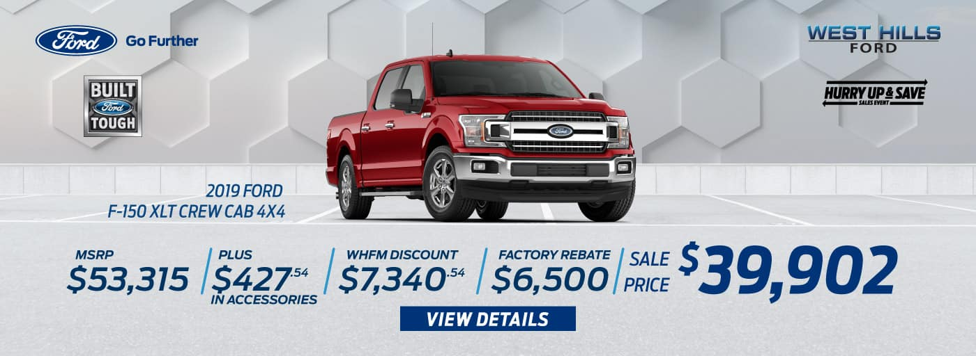2019 Ford F-150 XLT Crew Cab 4x4 (featured vehicle)  MSRP: $53,315 WHFM Discount: $7,340.54 Retail Customer Cash: $2,250 Retail Bonus Customer Cash: $500 Bonus Customer Cash: $750 Special Package Retail Customer Cash: $1,000 Select Inventory Retail Customer Cash: $500 Retail Trade in Assistance Bonus Cash: $1,500 Sale Price: $39,902   *Offer valid on 2019 Ford F-150 XLT Crew Cab 4x4. MSRP: $53,315. Plus $427.54 in Accessories. WHFM Discount: $7,340.54. Retail Customer Cash: $2,250. Retail Bonus Customer Cash: $500. Bonus Customer Cash: $750. Special Package Retail Customer Cash: $1,000. Select Inventory. Retail Customer Cash: $500. Retail Trade in Assistance Bonus Cash: $1,500. Sale Price: $39,902, not all will qualify. VIN: 1FTEW1E44KKC51987. Down payment and monthly payment may vary. Subject to credit approval. Excludes state and local taxes, tags, registration, title, insurance and dealer charges. See dealer for qualifications and complete details. A negotiable dealer documentary service fee of up to $150 may be added to the sale price or capitalized cost. Offer expires 7/31/19.
