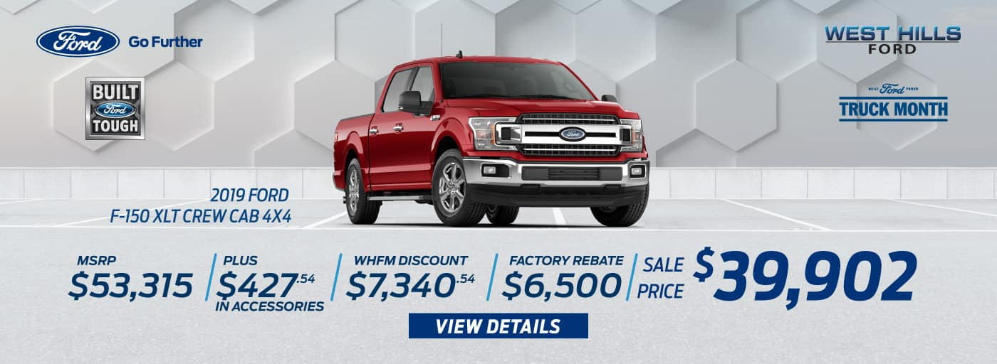 2019 Ford F-150 XLT Crew Cab 4x4 (featured vehicle)  MSRP: $53,315 WHFM Discount: $7,340.54 Retail Customer Cash: $2,250 Retail Bonus Customer Cash: $500 Bonus Customer Cash: $750 Special Package Retail Customer Cash: $1,000 Select Inventory Retail Customer Cash: $500 Retail Trade in Assistance Bonus Cash: $1,500 Sale Price: $39,902   *Offer valid on 2019 Ford F-150 XLT Crew Cab 4x4. MSRP: $53,315. Plus $427.54 in Accessories. WHFM Discount: $7,340.54. Retail Customer Cash: $2,250. Retail Bonus Customer Cash: $500. Bonus Customer Cash: $750. Special Package Retail Customer Cash: $1,000. Select Inventory. Retail Customer Cash: $500. Retail Trade in Assistance Bonus Cash: $1,500. Sale Price: $39,902, not all will qualify. VIN: 1FTEW1E44KKC51987. Down payment and monthly payment may vary. Subject to credit approval. Excludes state and local taxes, tags, registration, title, insurance and dealer charges. See dealer for qualifications and complete details. A negotiable dealer documentary service fee of up to $150 may be added to the sale price or capitalized cost. Offer expires 7/1/19.
