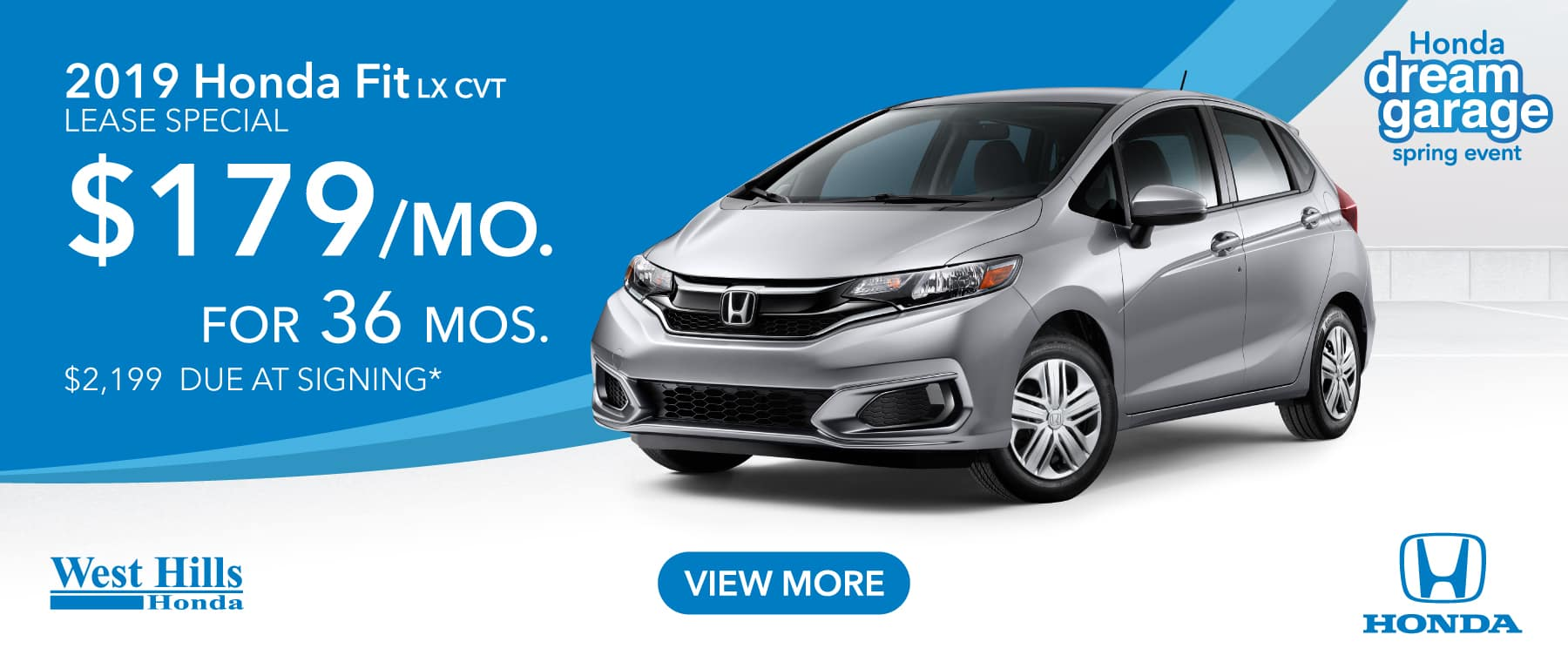 2019 Honda Fit LX CVT $179/mo. for 36 mos. $2,199 due at signing*    *Valid on 2019 Honda Fit LX CVT. $179 per mo. for 36 months. Lease with $2,199 due at signing; includes a $595 acquisition fee. Valid on VIN: 3HGGK5H41KM723547, 3HGGK5H43KM711450, 3HGGK5H41KM711446. MSRP starting at $17,885. No Security deposit required. Subject to credit approval. 36 monthly payments required. Not all lessees will qualify for lowest payment through participating lender. Residency restrictions apply. Lessee responsible for maintenance, excessive wear/tear and mileage over 12,000 miles per year at $0.15/mile. Option to purchase at lease end. Excludes state and local taxes, tags, registration and title, insurance and dealer charges. A negotiable dealer documentary service fee of up to $150 may be added to the sale price or capitalized cost. Offer expires 3/31/2019.