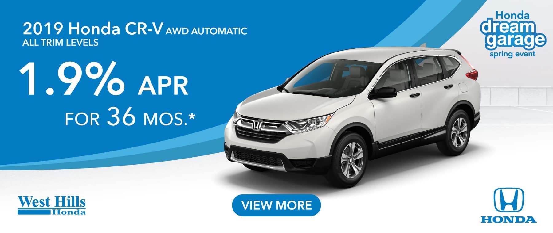 2019 Honda CR-V AWD Automatic All Trims 1.9% for 36 mos. *