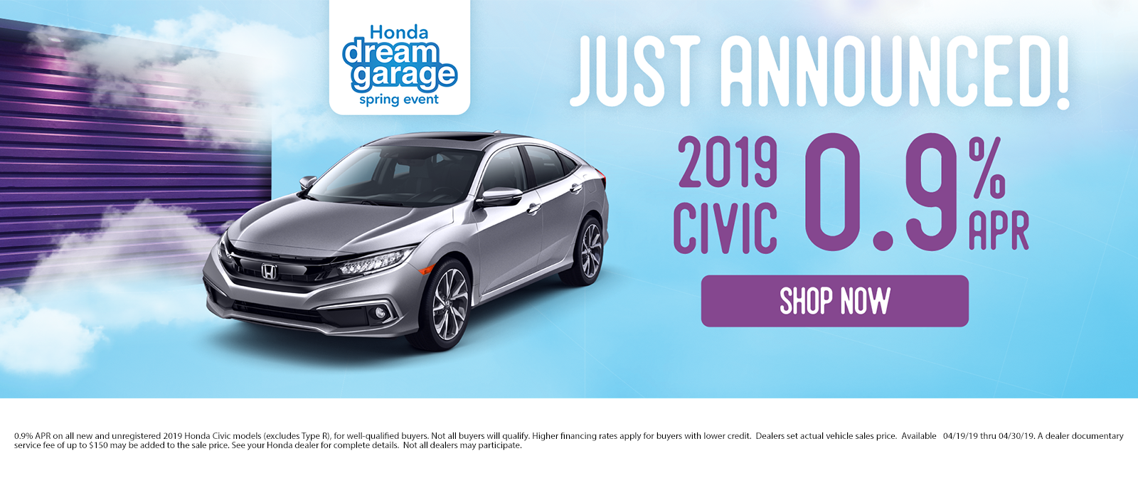 2019 Civic 0.9% APR
