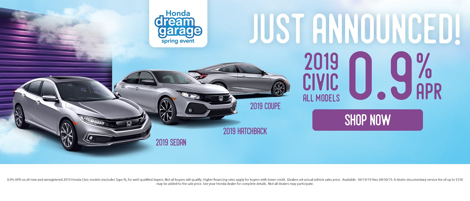 Just Announced 2019 Civic 0.9% APR on ALL Models