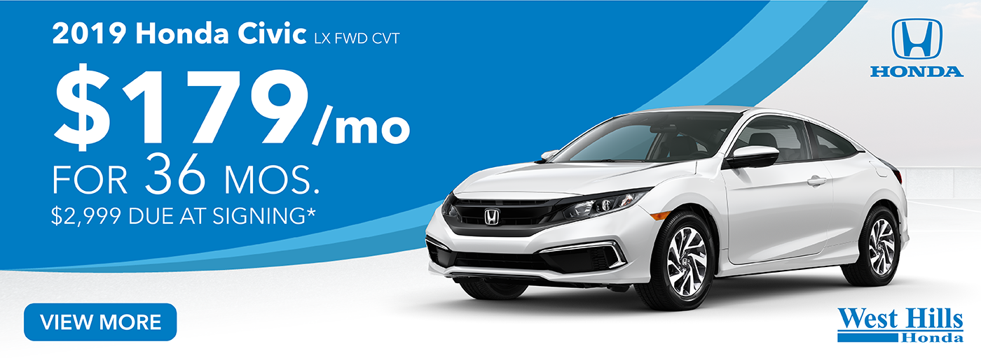 2019 Honda Civic LX FWD CVT $179/mo. for 36 mos. $2,999 due at signing*    *Valid on 2019 Honda Civic LX FWD CVT. $179 per mo. for 36 months. Lease with $2,999 due at signing; includes a $595 acquisition fee. Valid on VIN: 19XFC2F6XKE210222, 19XFC2F61KE209816, 19XFC2F65KE206577. No Security deposit required. Subject to credit approval. 36 monthly payments required. Not all lessees will qualify for lowest payment through participating lender. Residency restrictions apply. Lessee responsible for maintenance, excessive wear/tear and mileage over 12,000 miles per year at $0.15/mile. Option to purchase at lease end. Excludes state and local taxes, tags, registration and title, insurance and dealer charges. A negotiable dealer documentary service fee of up to $150 may be added to the sale price or capitalized cost. Offer expires 3/2/2020.