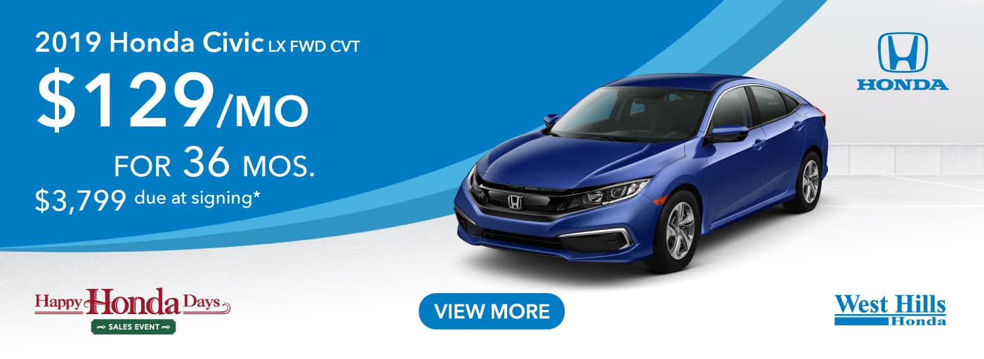 2019 Honda Civic LX FWD CVT $129/mo. for 36 mos. $3,799 due at signing*    *Valid on 2019 Honda Civic LX FWD CVT. $129 per mo. for 36 months. Lease with $3,799 due at signing; includes a $595 acquisition fee. Valid on VIN: 19XFC2F6XKE210222, 19XFC2F68KE210252, 19XFC2F67KE210369. MSRP starting at $21,170. No Security deposit required. Subject to credit approval. 36 monthly payments required. Not all lessees will qualify for lowest payment through participating lender. Residency restrictions apply. Lessee responsible for maintenance, excessive wear/tear and mileage over 12,000 miles per year at $0.15/mile. Option to purchase at lease end. Excludes state and local taxes, tags, registration and title, insurance and dealer charges. A negotiable dealer documentary service fee of up to $150 may be added to the sale price or capitalized cost. Offer expires 1/2/2020.