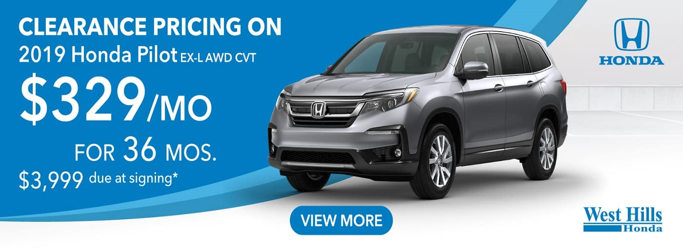 2019 Honda Pilot EX-L AWD CVT $329/mo. for 36 mos. $3,999 due at signing*    *Valid on 2019 Honda Pilot EX-L AWD CVT. $329 per mo. for 36 months. Lease with $3,999 due at signing; includes a $595 acquisition fee. Valid on VIN: 5FNYF6H5XKB073496, 5FNYF6H5XKB084935, 5FNYF6H55KB100989. MSRP starting at $40,705. No Security deposit required. Subject to credit approval. 36 monthly payments required. Not all lessees will qualify for lowest payment through participating lender. Residency restrictions apply. Lessee responsible for maintenance, excessive wear/tear and mileage over 12,000 miles per year at $0.15/mile. Option to purchase at lease end. Excludes state and local taxes, tags, registration and title, insurance and dealer charges. A negotiable dealer documentary service fee of up to $150 may be added to the sale price or capitalized cost. Offer expires 10/31/2019.