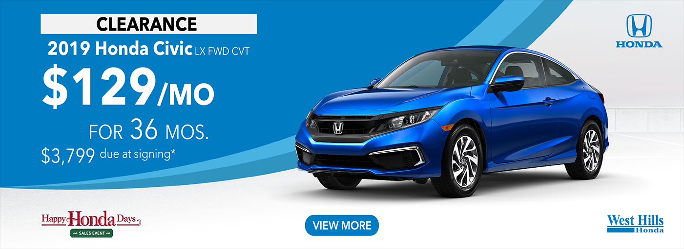 2019 Honda Civic LX FWD CVT $129/mo. for 36 mos. $3,799 due at signing*    *Valid on 2019 Honda Civic LX FWD CVT. $129 per mo. for 36 months. Lease with $3,799 due at signing; includes a $595 acquisition fee. Valid on VIN: 19XFC2F6XKE210222, 19XFC2F68KE210252, 19XFC2F67KE210369. MSRP starting at $21,170. No Security deposit required. Subject to credit approval. 36 monthly payments required. Not all lessees will qualify for lowest payment through participating lender. Residency restrictions apply. Lessee responsible for maintenance, excessive wear/tear and mileage over 12,000 miles per year at $0.15/mile. Option to purchase at lease end. Excludes state and local taxes, tags, registration and title, insurance and dealer charges. A negotiable dealer documentary service fee of up to $150 may be added to the sale price or capitalized cost. Offer expires 1/6/2020.