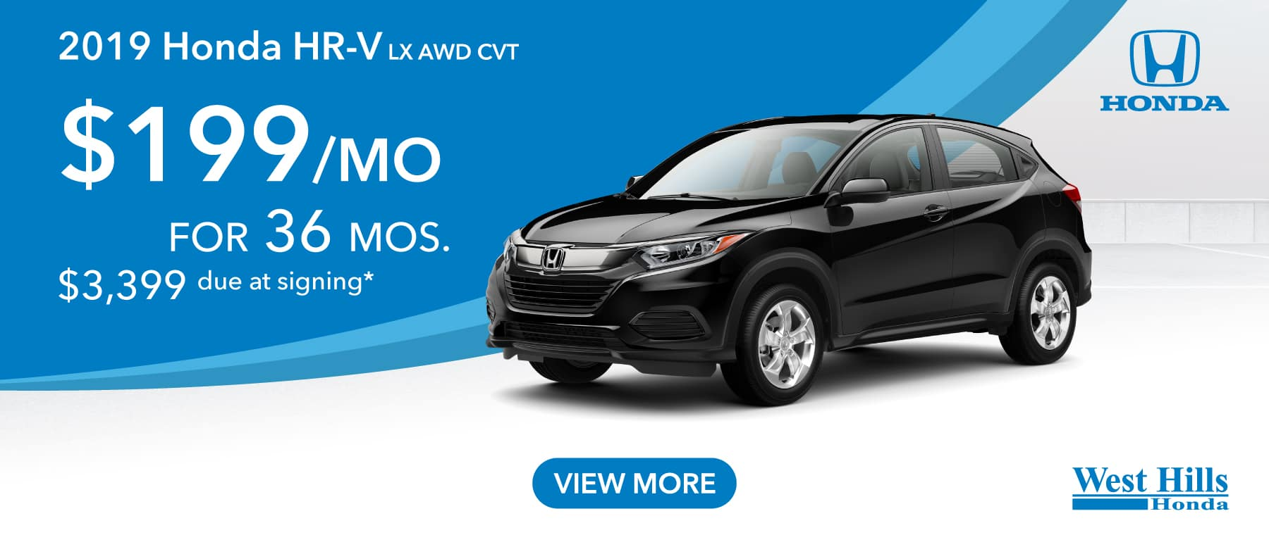 2019 Honda HR-V LX AWD CVT (featured vehicle) $199/mo. for 36 mos. $3,399 due at signing*    *Valid on 2019 Honda HR-V LX AWD CVT. $199 per mo. for 36 months. Lease with $3,399 due at signing; includes a $595 acquisition fee. Valid on VIN: 3CZRU6H35KG722022, 3CZRU6H31KM720558, 3CZRU6H34KM720604. MSRP $22,965. No Security deposit required. Subject to credit approval. 36 monthly payments required. Not all lessees will qualify for lowest payment through participating lender. Residency restrictions apply. Lessee responsible for maintenance, excessive wear/tear and mileage over 12,000 miles per year at $0.15/mile. Option to purchase at lease end. Excludes state and local taxes, tags, registration and title, insurance and dealer charges. A negotiable dealer documentary service fee of up to $150 may be added to the sale price or capitalized cost. Offer expires 7/8/2019.