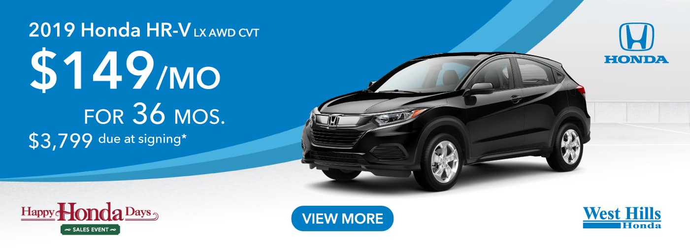 2019 Honda HR-V LX AWD CVT   $149/mo. for 36 mos. $3,799 due at signing*    *Valid on 2019 Honda HRV LX AWD CVT. $149 per mo. for 36 months. Lease with $3,799 due at signing; includes a $595 acquisition fee. Valid on VIN: 3CZRU6H31KM736081, 3CZRU6H33KM735689, 3CZRU6H32KM743251. MSRP $23,115. No Security deposit required. Subject to credit approval. 36 monthly payments required. Not all lessees will qualify for lowest payment through participating lender. Residency restrictions apply. Lessee responsible for maintenance, excessive wear/tear and mileage over 12,000 miles per year at $0.15/mile. Option to purchase at lease end. Excludes state and local taxes, tags, registration and title, insurance and dealer charges. A negotiable dealer documentary service fee of up to $150 may be added to the sale price or capitalized cost. Offer expires 1/2/2020.
