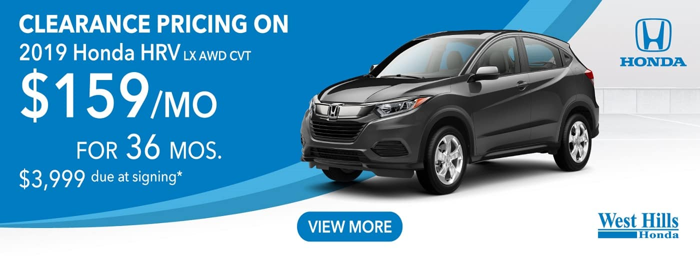 2019 Honda HRV LX AWD CVT   (featured vehicle) $159/mo. for 36 mos. $3,999 due at signing*    *Valid on 2019 Honda HRV LX AWD CVT. $159 per mo. for 36 months. Lease with $3,999 due at signing; includes a $595 acquisition fee. Valid on VIN: 3CZRU6H34KM731957, 3CZRU6H31KM725453. MSRP $22,965. No Security deposit required. Subject to credit approval. 36 monthly payments required. Not all lessees will qualify for lowest payment through participating lender. Residency restrictions apply. Lessee responsible for maintenance, excessive wear/tear and mileage over 12,000 miles per year at $0.15/mile. Option to purchase at lease end. Excludes state and local taxes, tags, registration and title, insurance and dealer charges. A negotiable dealer documentary service fee of up to $150 may be added to the sale price or capitalized cost. Offer expires 10/31/2019.