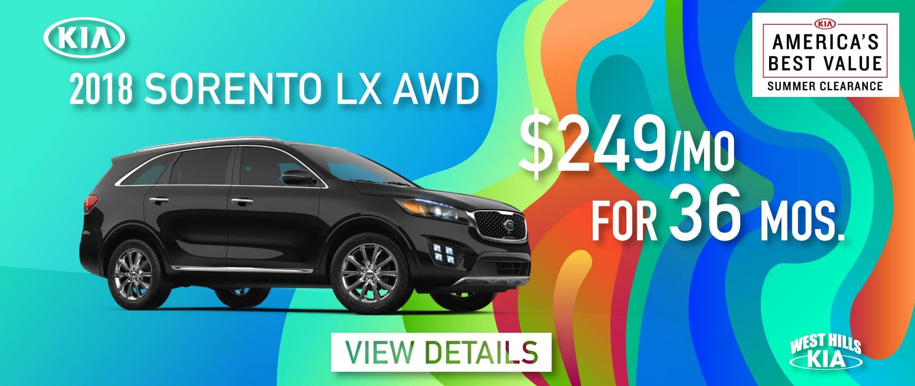 2018 Kia Sorento LX AWD Lease Special $249/mo. For 36 mos. *