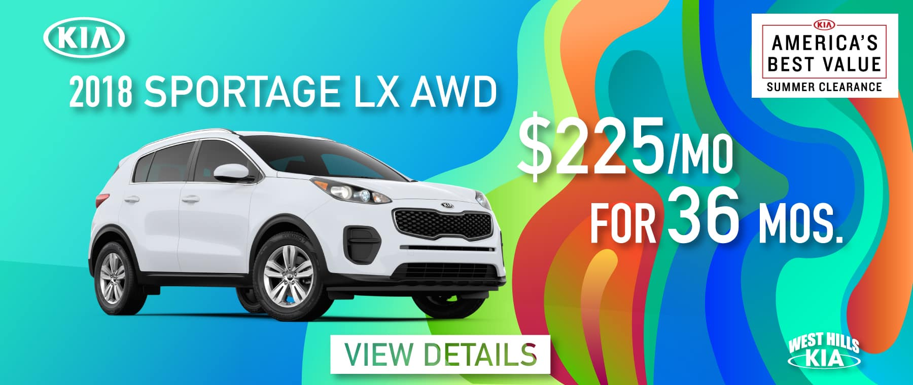 2018 Kia Sportage LX AWD Lease Special $225/mo. For 36 mos. *