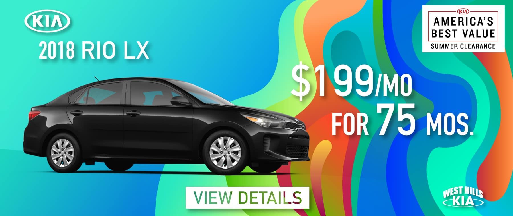 2018 Kia Rio LX Purchase for $199/mo. For 75 mos.*