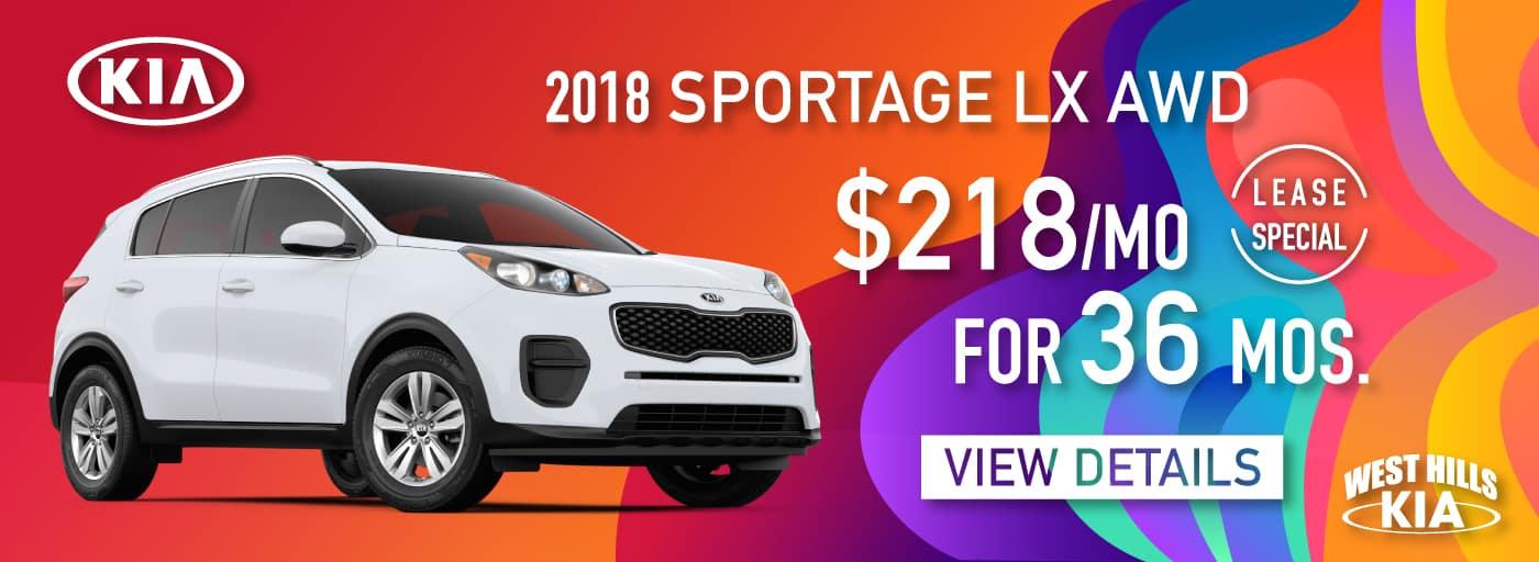 2018 Kia Sportage LX AWD Lease Special $218/mo. For 36 mos. *