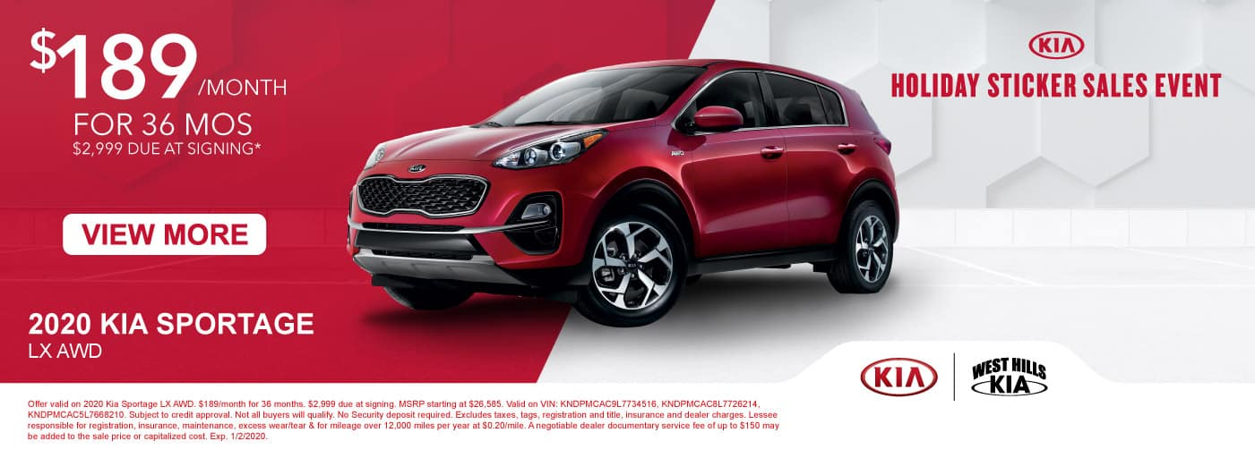 2020 Kia Sportage LX AWD (featured vehicle)  $189/month for 36 months  $2,999 Due at Signing   Offer valid on 2020 Kia Sportage LX AWD. $189/month for 36 months. $2,999 due at signing. MSRP starting at $26,585. Valid on VIN: KNDPMCAC9L7734516, KNDPMCAC8L7726214, KNDPMCAC5L7668210. Subject to credit approval. Not all buyers will qualify. No Security deposit required. Excludes taxes, tags, registration and title, insurance and dealer charges. Lessee responsible for registration, insurance, maintenance, excess wear/tear & for mileage over 12,000 miles per year at $0.20/mile. A negotiable dealer documentary service fee of up to $150 may be added to the sale price or capitalized cost. Exp. 1/2/2020.