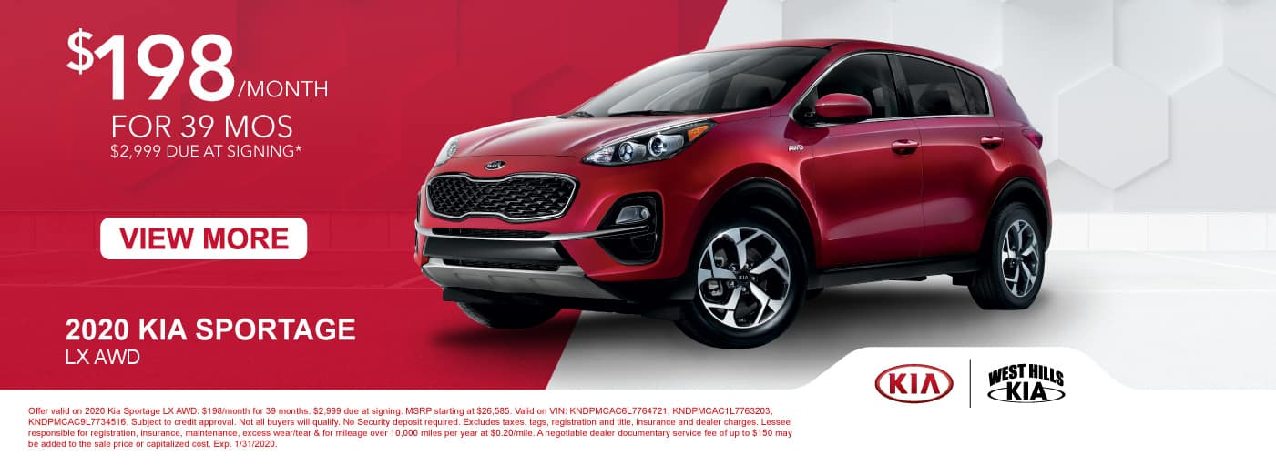 2020 Kia Sportage LX AWD (featured vehicle)  $198/month for 39 months  $2,999 Due at Signing   * Offer valid on 2020 Kia Sportage LX AWD. $198/month for 39 months. $2,999 due at signing. MSRP starting at $26,585. Valid on VIN: KNDPMCAC6L7764721, KNDPMCAC1L7763203, KNDPMCAC9L7734516. Subject to credit approval. Not all buyers will qualify. No Security deposit required. Excludes taxes, tags, registration and title, insurance and dealer charges. Lessee responsible for registration, insurance, maintenance, excess wear/tear & for mileage over 10,000 miles per year at $0.20/mile. A negotiable dealer documentary service fee of up to $150 may be added to the sale price or capitalized cost. Exp. 1/31/2020.