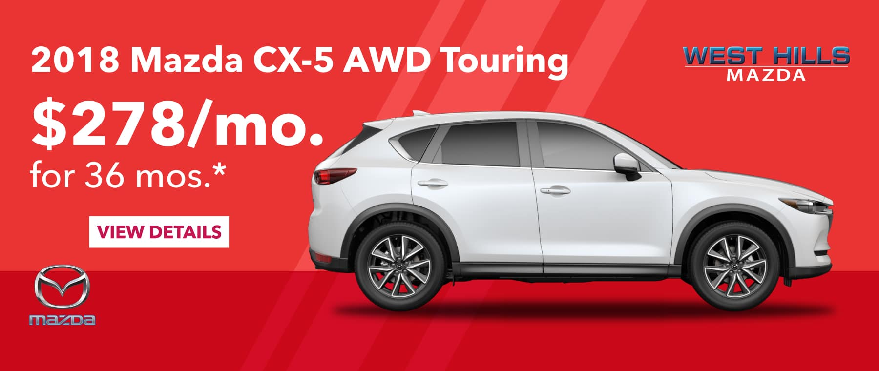 2018 Mazda CX-5 AWD Touring $278/mo. For 36 mos. *