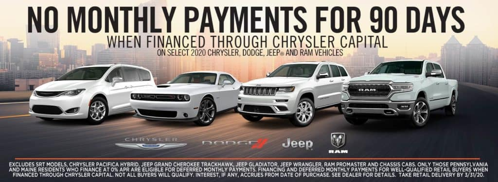 No Payments for 90 days on select 2020 Chrysler, Dodge, Jeep and Ram Vehicles!