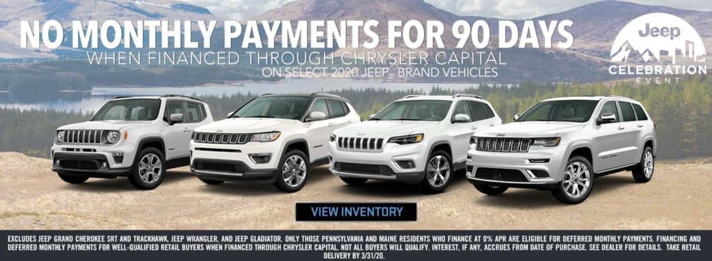 No Monthly Payments for 90 Days on Select 2020 Jeep Brand Vehicles!