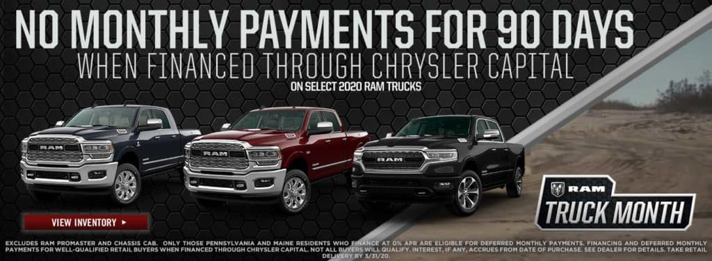 No Monthly Payments for 90 Days on Select 2020 Ram Trucks!