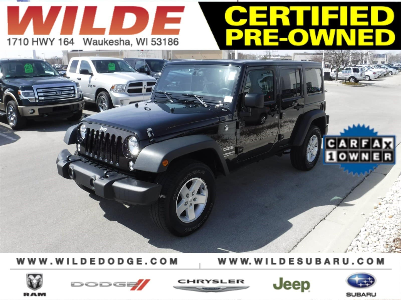 featured used car of the week certified pre owned 2016 jeep wrangler unlimited sport wilde. Black Bedroom Furniture Sets. Home Design Ideas